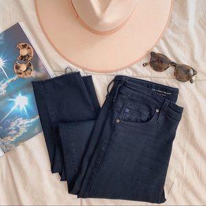 AG Black Farrah High Rise Raw Hem Skinny Jeans
